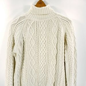 LL Bean Cable Knit Pullover Turtleneck Sweater